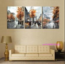 New arrival modular 3 Piece Painting Calligraphy Vintage Abstract City Street Canvas Poster Arts Oil Painting On Canvas Prints M