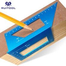 Woodworking Ruler Square 45 90 Degrees Metric Gauge Aluminum Alloy Marking Gauge Angle Edge Measuring Tool