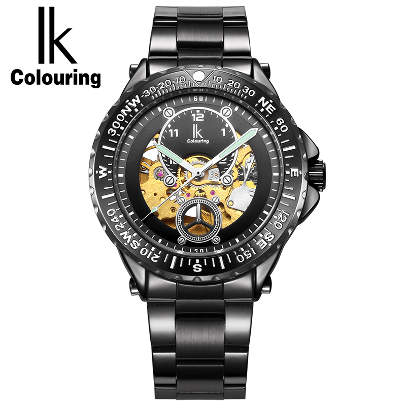 ФОТО IK Colouring 2017 Luxury Men Watch Stainless Steel Automatic Watches Men Luminous Military Mechanical Watch Casual Wristwatch