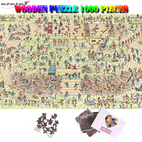 MOMEMO Happy Stadium Cartoon Jigsaw Puzzle 1000 Pieces Wooden Puzzle 1000 for Adults Kids Puzzles Toys Home Decoration 50*75cm