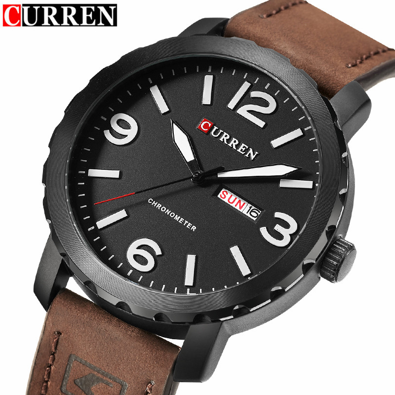 Curren Watch Men Brand Luxury Leather Black Quartz Mens Watches Men's Fashion Casual Sport Clock With Calendar Wristwatch Reloj pagani design mens watch fashion luxury brand clock male casual sport wristwatch men pirate skull style quartz watch reloj hombe