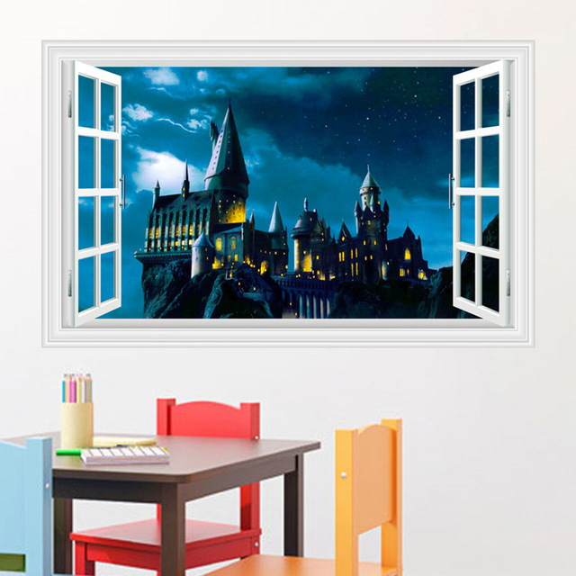 3D Wall Stickers School of magic castle stereo window scenery of the living room wallpapers mural 60*90cm/50*70cm