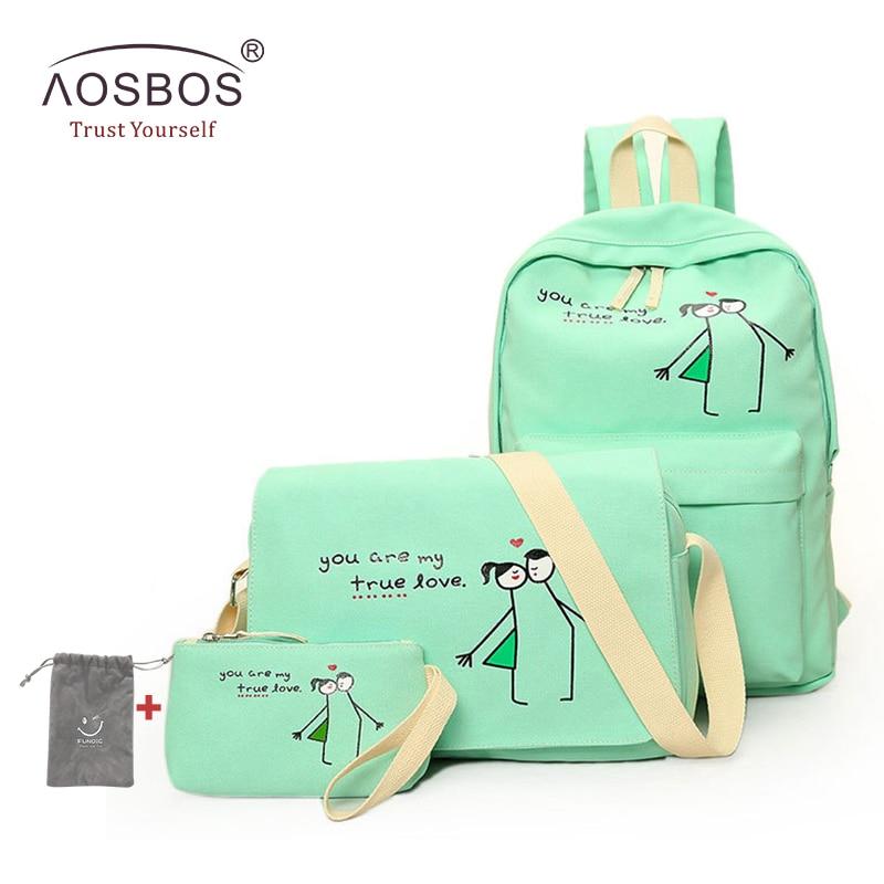 Хит, 4 шт./компл. световой холст Обувь для девочек Рюкзаки высокое качество подростков милые школьная сумка портфель женские туристические р...
