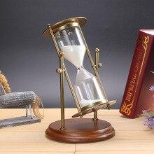 Retro metal log base rotating hourglass timer, creative crafts wedding home office decoration