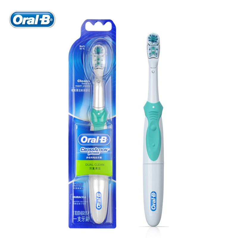 Oral B Cross Action Electric Toothbrush Dual Clean Teeth Whitening Non-Rechargeable Teeth Brush 4 Colors pro teeth whitening oral irrigator electric teeth cleaning machine irrigador dental water flosser teeth care tools m2