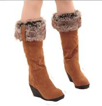 2016 Nouvelles Femmes bottes d'hiver talons genou haute bottes chaud coton rembourré chaussures femmes haut compensées en daim bottes de neige en cuir ba45