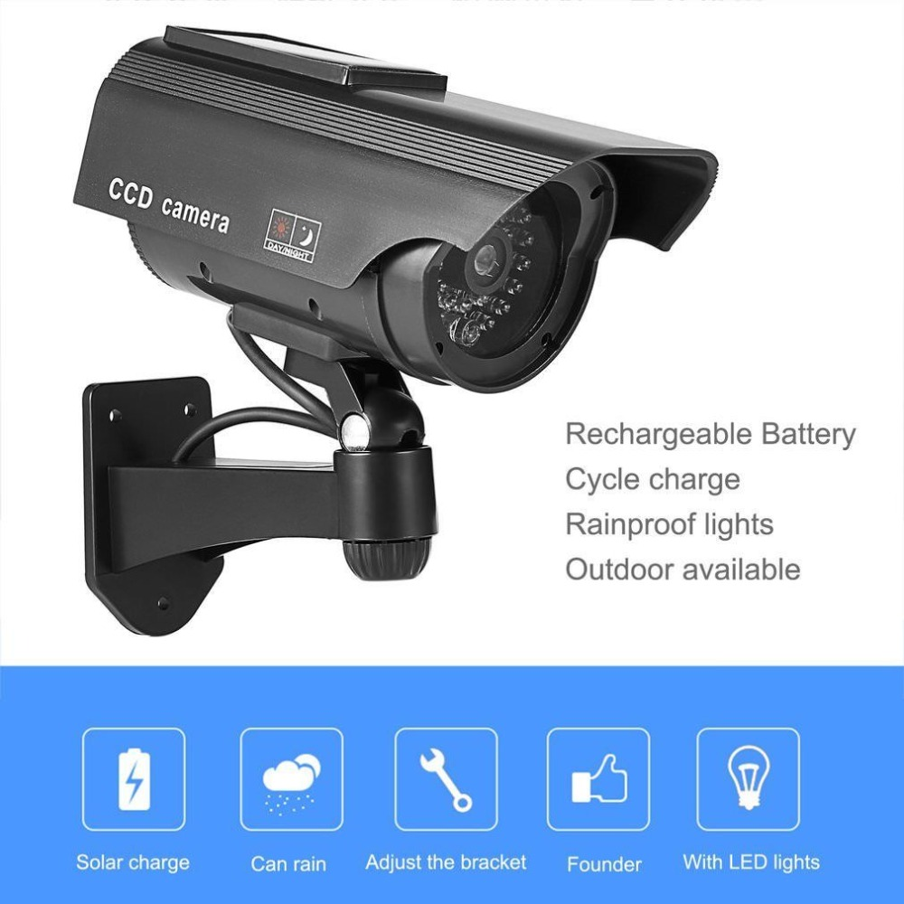 Solar Powered Fake Camera Dummy Camera High Simulation CCTV Camera Home Security Surveillance Camera With Led Red Light Flashing fk cctv7 realistic dummy surveillance security camera w flashing red led light silver 2 x aaa