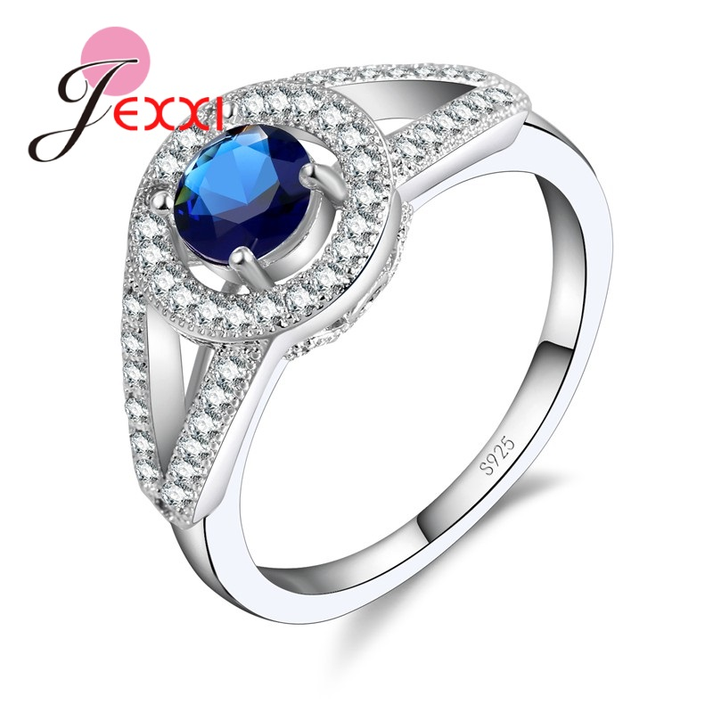 JEXXI Elegant Engagement Ring For Women Jewelry CZ Stone Fashion Band Wedding 925 Sterling Silver Finger Ring Anillos Bague