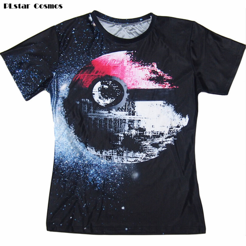 PLstar Cosmos Pokeball Death Star T-Shirt Sexy Tee Pokemon Wars vibrante maglietta estate casual top pullover donna / uomo plus size