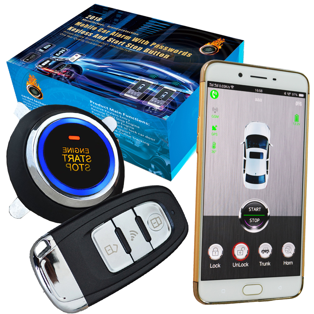 smart phone app car security alarm system with engine start stop button online real time gps tracking sms cut off fuel path