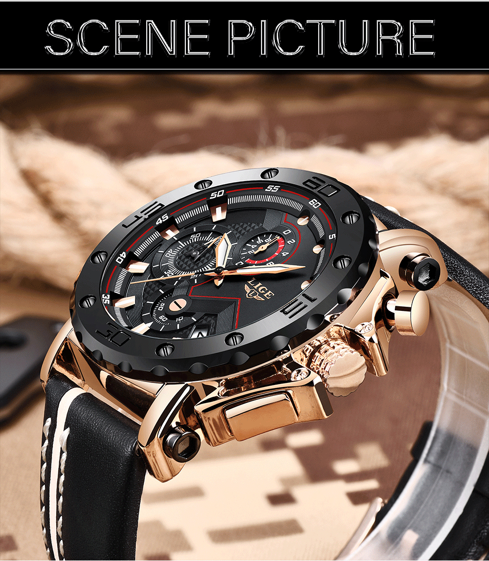 Relogio Masculino New LIGE Sport Chronograph Mens Watches Top Brand Casual Leather Waterproof Date Quartz Watch Man Clock