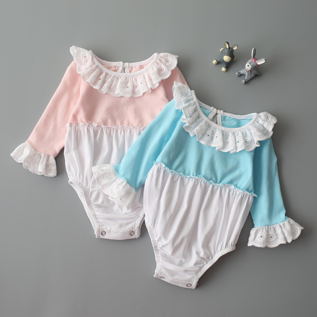 Baby Girls Romper 2017 autumn Infant Baby Girls Romper long flare Sleeve O-Neck Rompers pink blue Lace Cotton Outfit Clothes Kid