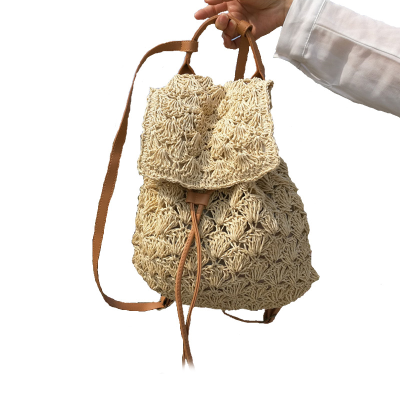 ABDB-Women Bag Backpack Fashion Hollow Out Woven Drawstring Summer Beach Backpacks Women Bags Straw Bag