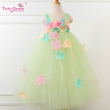 2017 New Flower Fairy Girls Handmade Tutu Dress For 2-12 Years Children Wedding Party Prom Custom Flower Girl Dresses(China)