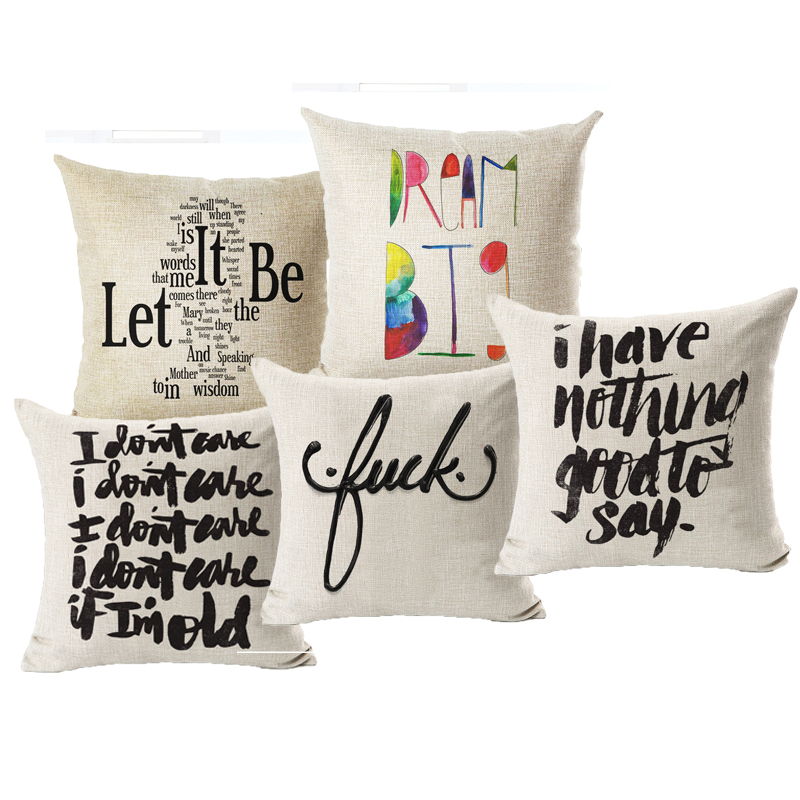 Sweet Letter Let it beHome Decorative throw pillow cover case cotton linen seat waist cushion cover for sofa home decor ...