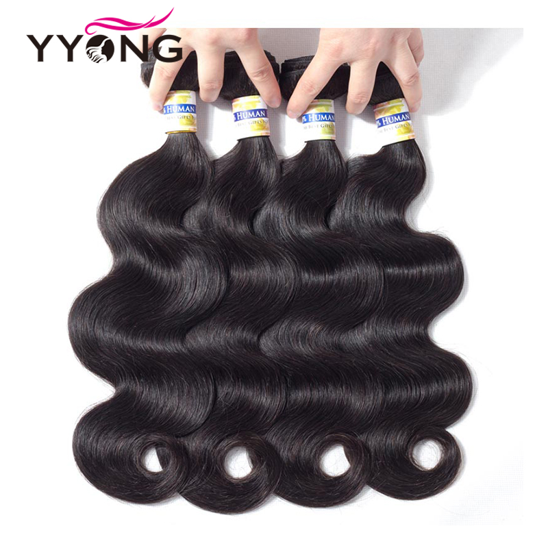 Yyong Hair Brazilian Body Wave Hair 4 Bundles Human Hair Extention Non Remy Hair Natural Color 8-26 Inch Free Shipping