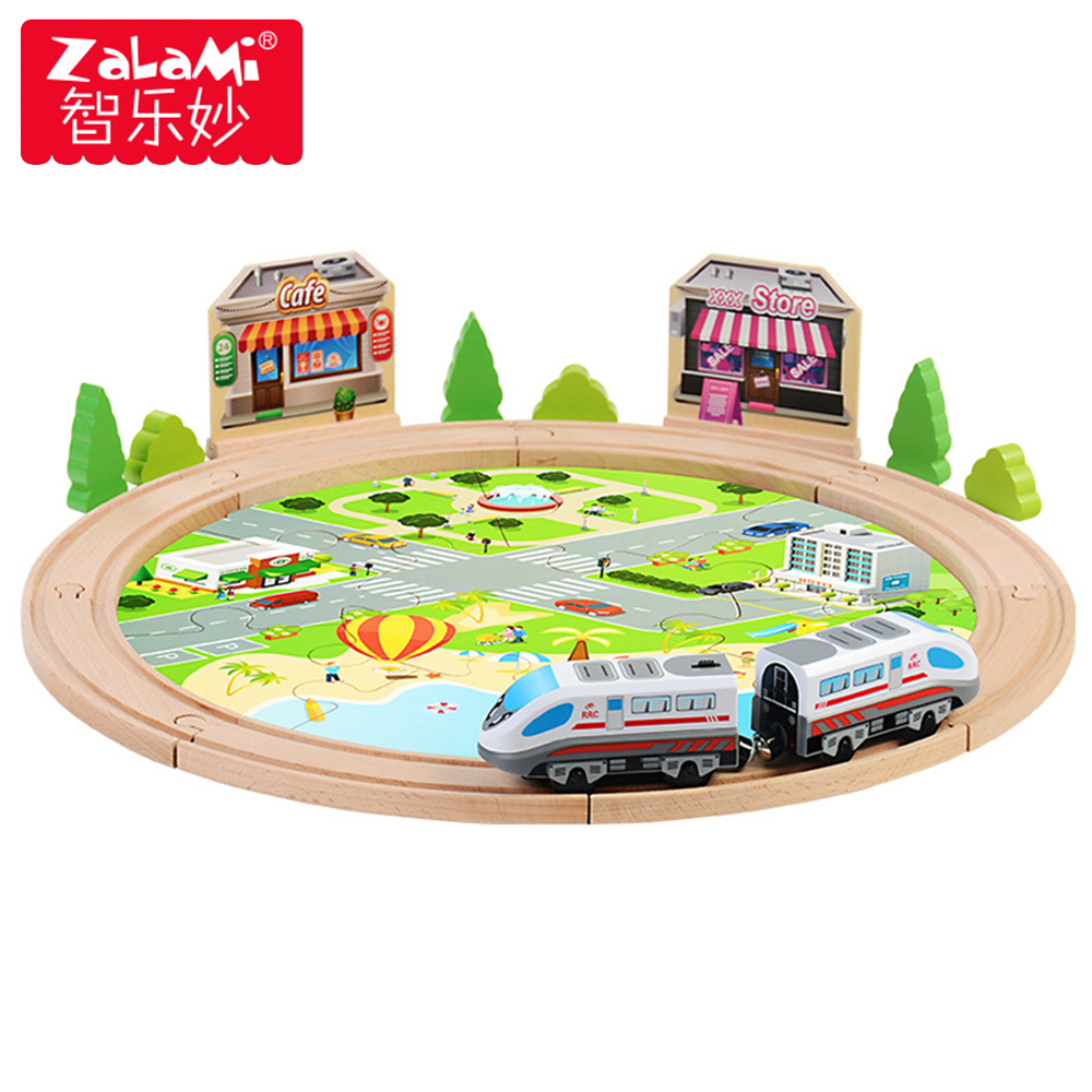 29pcs Wooden City Railway Train Set Model With Magnetic Locomotive Electric Train Toys Wooden Tracks Assembly Games Baby Toys