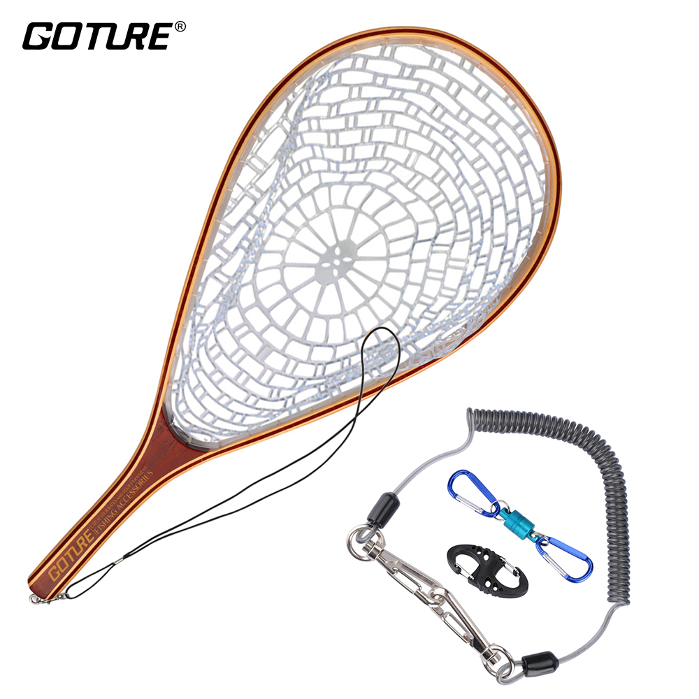Goture Fly Fishing Net Landing Net Set Monofilament Nylon Fishing Network with Fishing Lanyard Rope Magnetic Buckle|fishing network|landing net|fishing net - title=