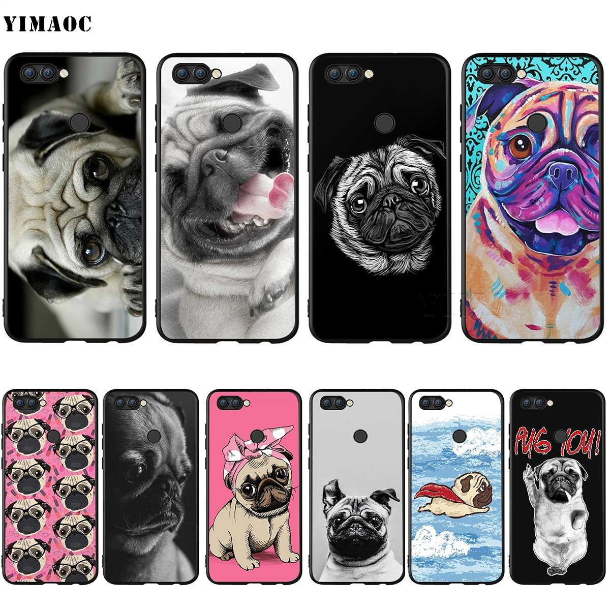 YIMAOC Cute Pug Dog Silicone Case for Huawei Honor 6a 7a 7c 7x 8 9 10 Lite Pro Y6 Prime 2018 2017