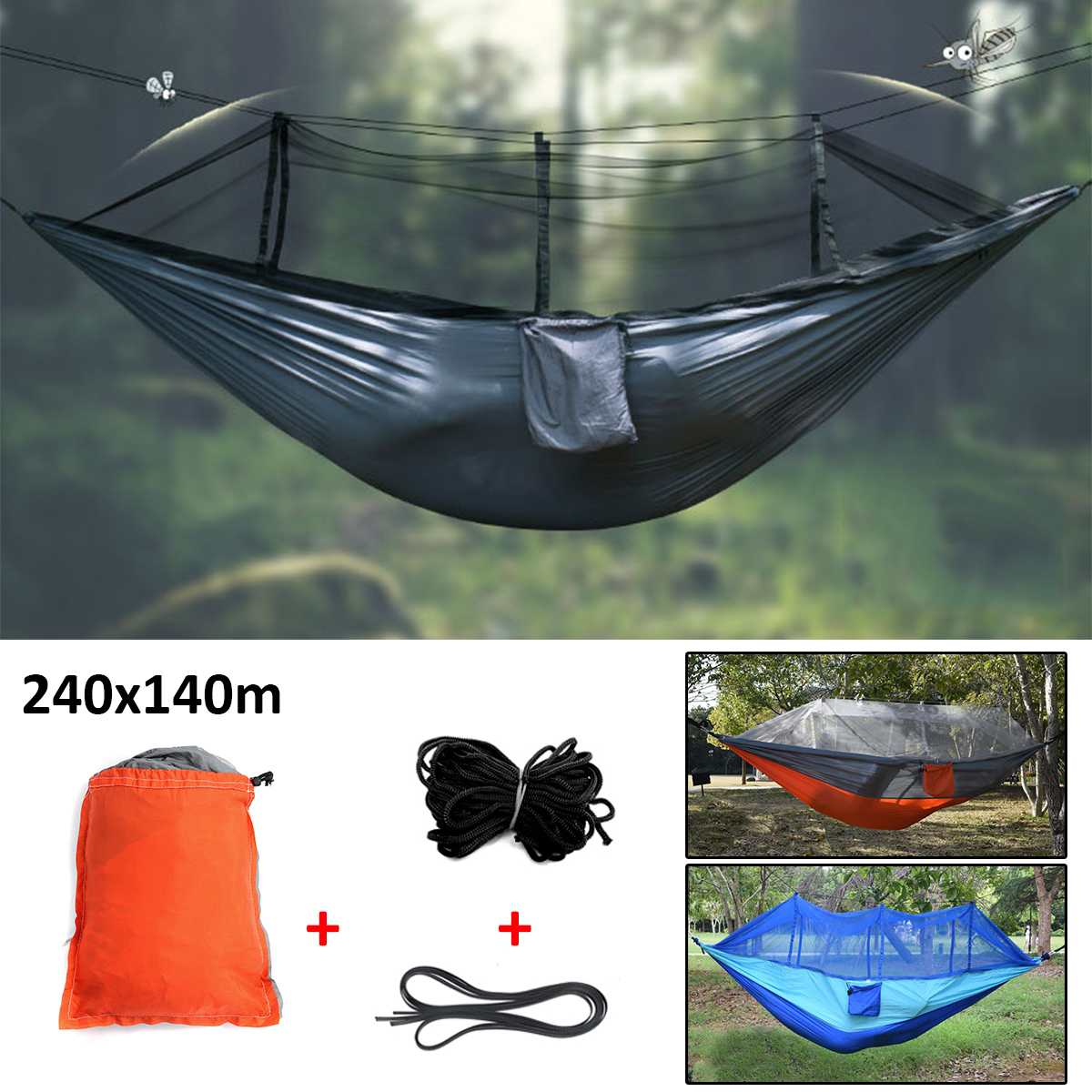 Outdoor Double 2 People Hammock Camping Tent Hanging Swing Bed With Mosquito Net Sleeping Outdoor Parachute HammocksOutdoor Double 2 People Hammock Camping Tent Hanging Swing Bed With Mosquito Net Sleeping Outdoor Parachute Hammocks