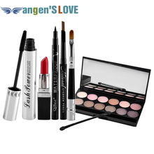 Qibest Makeup Set Mascara + Eyeliner + Eyeshadow + Eyebrow Pencil + Lipstick