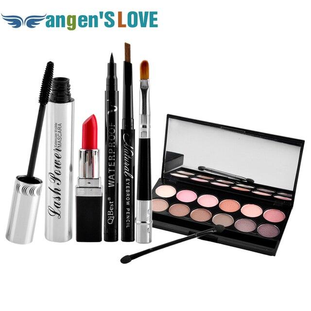 Qibest Makeup Set Mascara + Eyeliner + Eyeshadow + Eyebrow Pencil + Lipstick