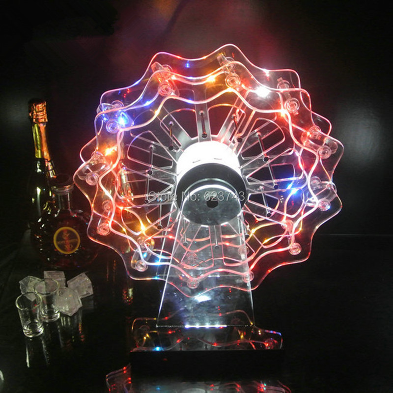 New Rechargeable Multicolor Plastic Ferris Wheel LED Wine Holder Led Shot Glass Wine Rack For Pub Bar Party Barware Decoration