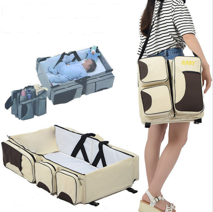 Multi-function foldable portable portable crib bed bed large capacity mummy bag shoulder baby bag travel bed~  цена и фото