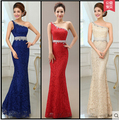 One Shoulder Crystal Raceback Evening Dress 2016 Slim Soluble Lace Fish Tail Formal Dress Custom Made 13colors