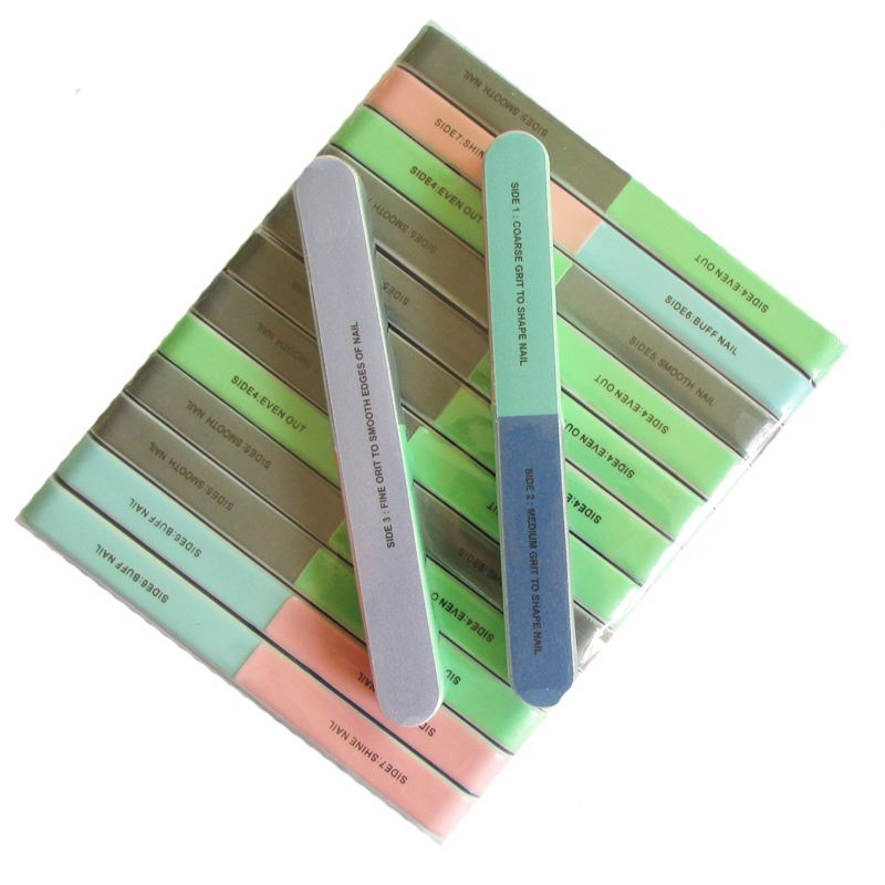 5pcs/lot 7 Side Nail Polish Buffer Nail Art Sanding Files Buffer Block Manicure Pedicure Tools Sand Surface Sponge Nail File