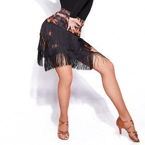Image 3 - Новейшая популярная юбка для латинских танцев для дам, юбка с кисточками из черной кожи, Женская юбка для бальных танцев, Chacha Tango Samba, конкурентные костюмы I209