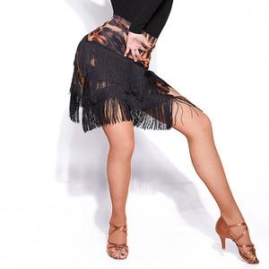 Image 3 - Newest Popular Latin Dance Skirt For Ladies Black Skin Tassel Skirt Women Ballroom Chacha Tango Samba Competitive Costumes I209