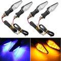 4 pcs 12 V Preto Universal Motos LED Turn Signal Indicator Light para yamaha para suzuki para kawasaki dupla cor amarela & azul