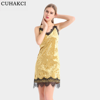 CUHAKCI Phụ Nữ 2018 Summer New Dress Vàng Casual Quần Áo Phụ Nữ V Neck Sexy Ren Dresses Bồn Dresses Cộng Với Kích Thước Ăn Mặc S-XL