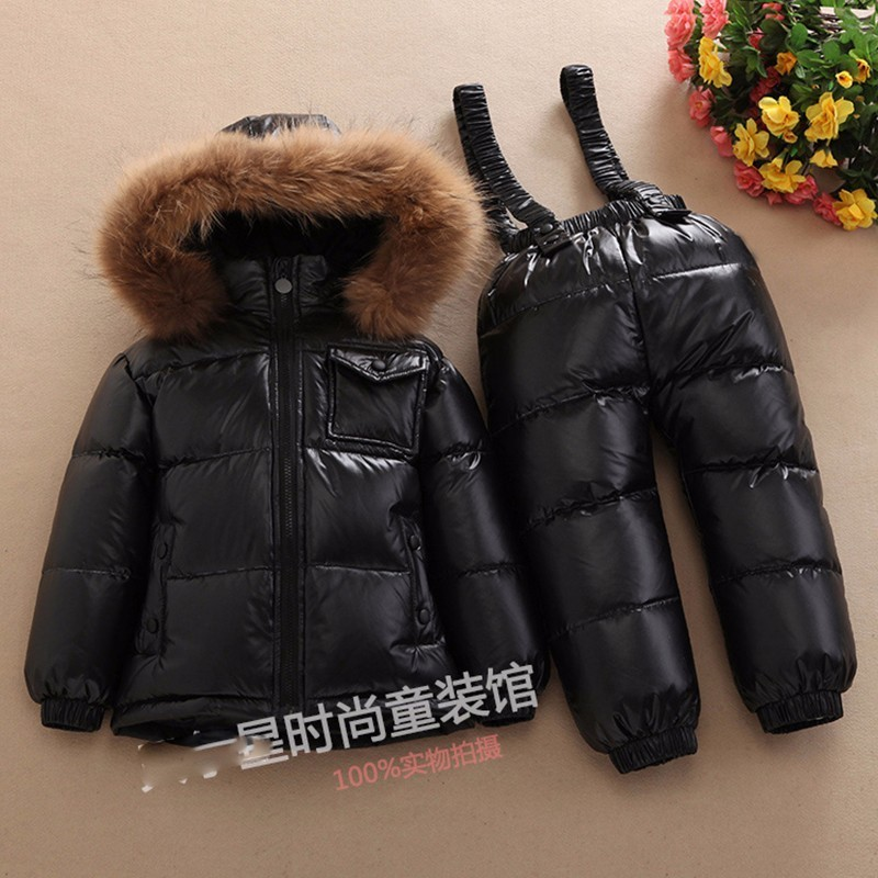 Kids Raccoon Fur Thicken Down Jacket + Pants Boys Girls Winter Clothes Sets Children 90% White Duck Down Hooded Coat+Overalls kids winter down long jacket boys girls 90% white duck down coat children fox raccoon fur hooded baby thick warm clothes suit