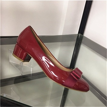 New women's shoes bow decoration 3.5CM thick heel round toe patent leather shoes shallow fashion shoes women