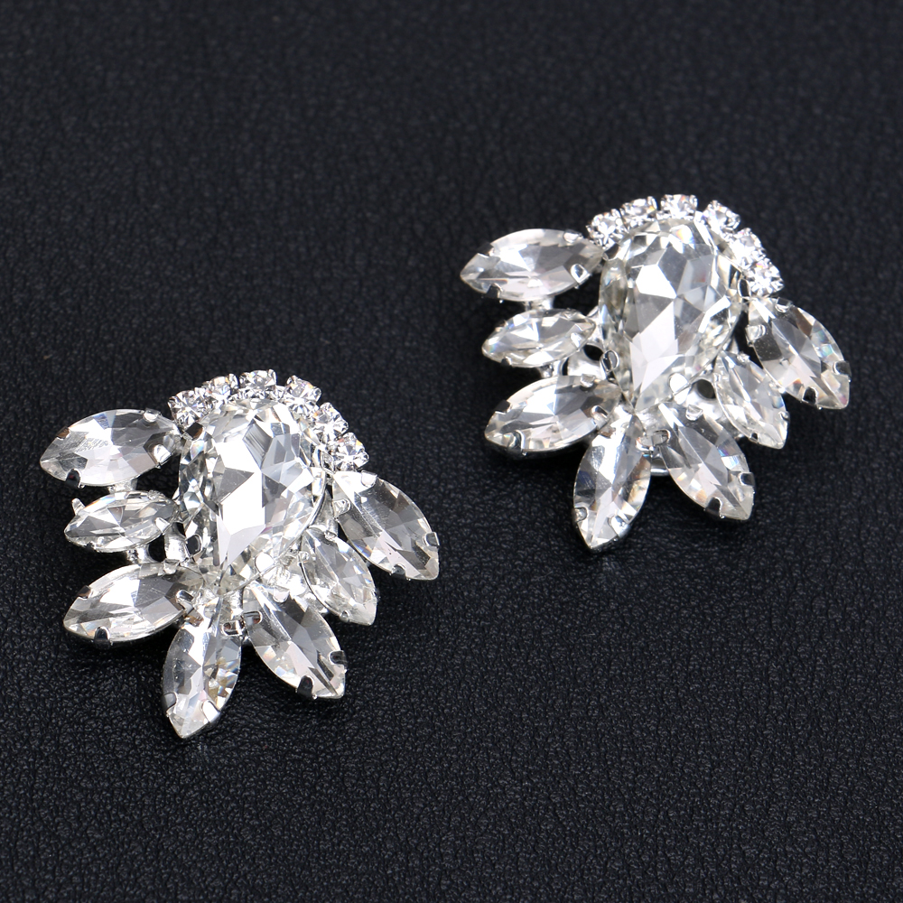 1Pair Rhinestone Crystal Tone Boots Shoe Clips Buckle Decoration Silver Women