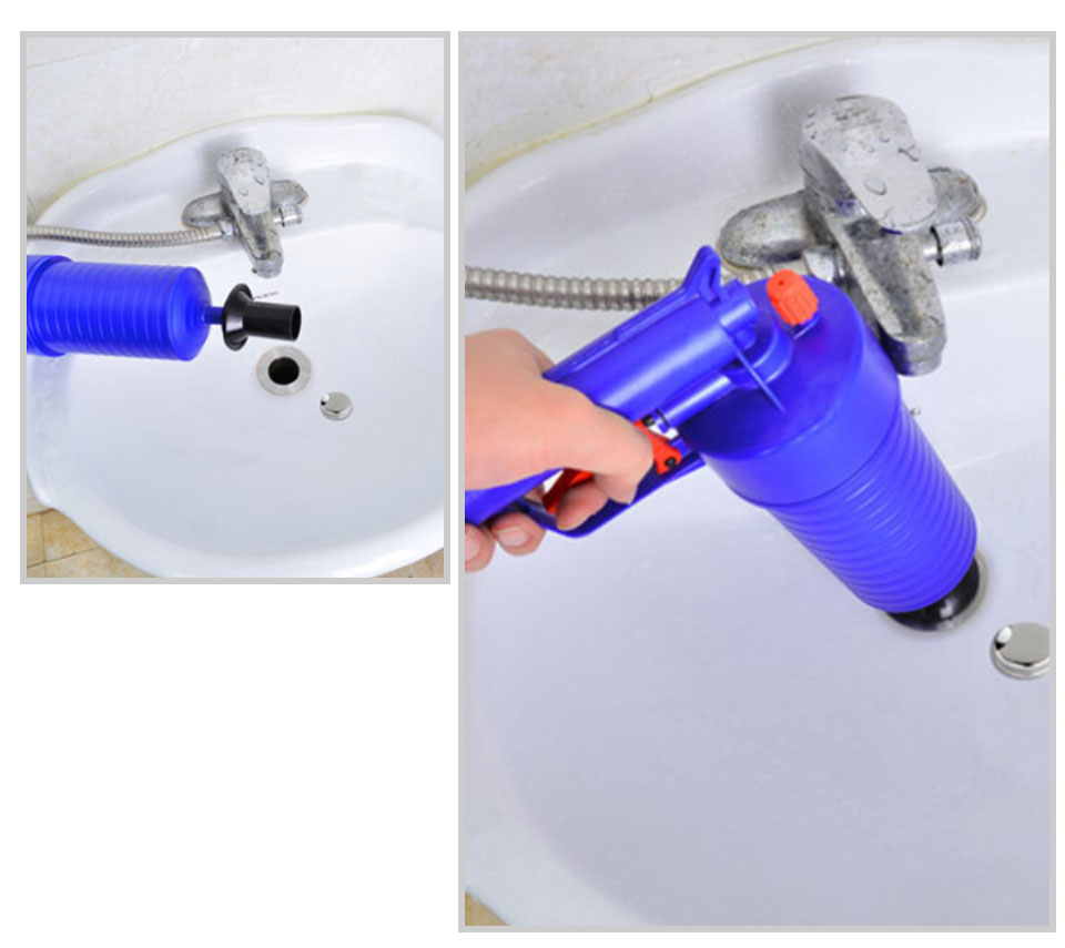New High Pressure Powerful Manual Sink Plunger Home Air Drain Blaster PumpGunCleanerOpener Plastic Unclog Toilet Plunger     _11