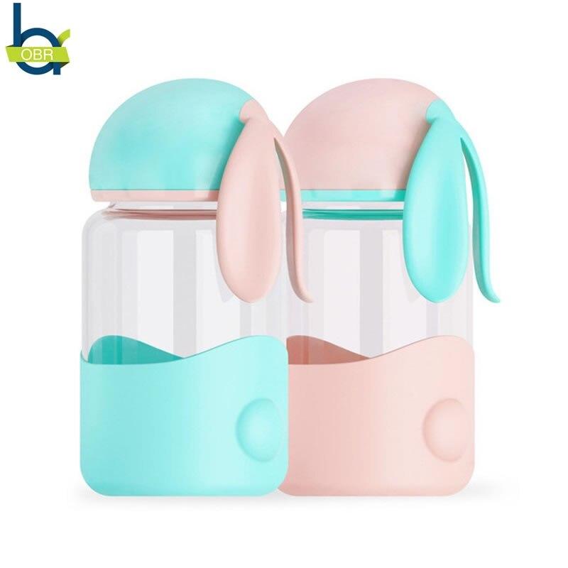 OBR 340ml Cute Rabbit Water Bottle Cartoon Student Couple Water Glass Portable Leakproof Sports Drinking Bottle Creative Gifts