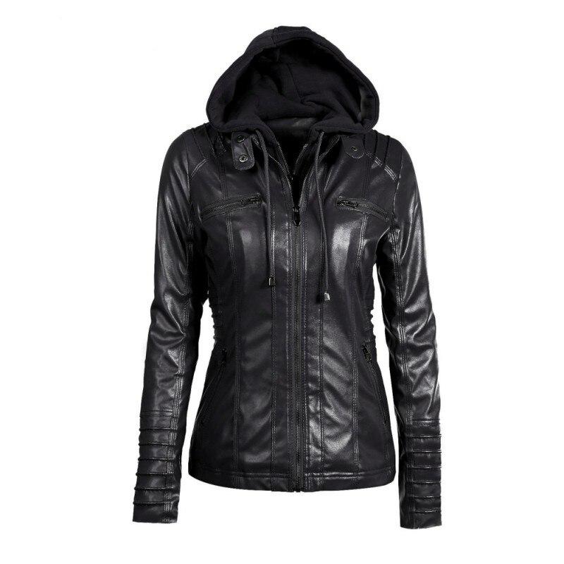 Fashion Women   Leather   Jacket Long-sleeved Hooded Zipper Coat Plus Size   Leather   Jacket