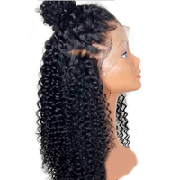 DLME 24Inch Long Black Wig Glueless Synthetic Lace Front Wig High Temperature Fiber Hair Afro Kinky