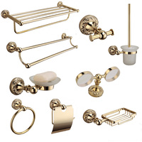 Solid brass bathroom hardware set gold polished toilet brush holder antique bathroom accessories wall mounted bathroom products