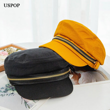 USPOP 2019 New Autumn hats Newsboy caps for women zipper flat top visor fashion cotton solid color military