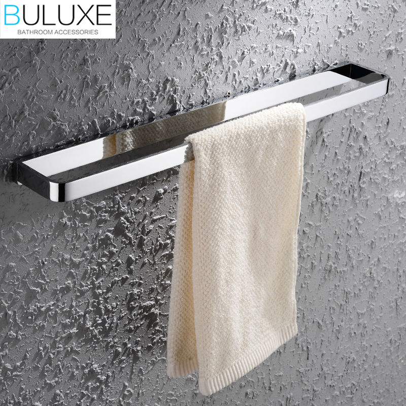 BULUXE Solid Brass Bathroom Accessories Towel Bar Holder Chrome Finished Wall Mounted Bath Acessorios de banheiro HP7704 buluxe brass bathroom accessories towel bar rack holder chrome finished wall mounted bath acessorios de banheiro hp7736