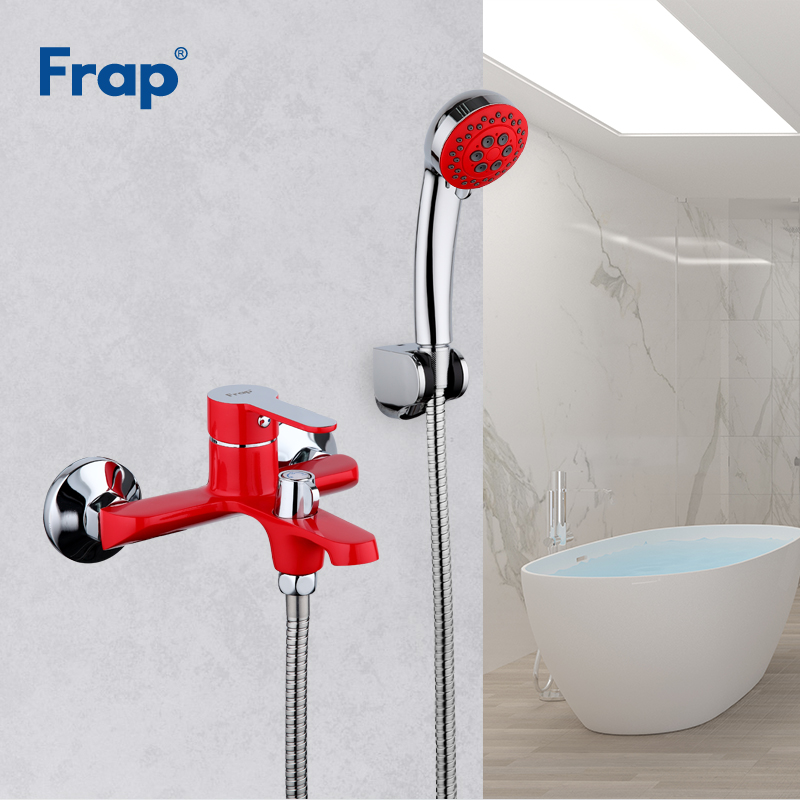 Frap New Luxury Red Bathroom Shower Set Brass Wall Mounted Hot and Cold Water Crane Mixer Shower Faucet Bathtub torneira F3243 frap wall mounted shower bathroom faucet cold