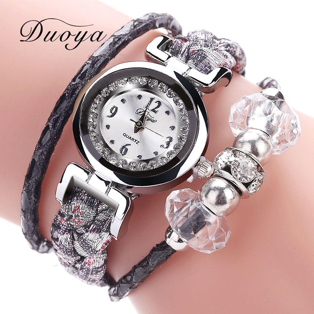Duoya Brand 2017 Hot Sale Fashion Casual Quartz Women Watches Silver Dial Simple Bracelet Wristwatch Dress Ladies Clock DY128