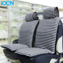 LOEN New Cotton Car Seat Cushion Set Comfortable Soft Fabric Seat Covers Blue&gray Stripe For 0 Toyota Hyundai Bmw
