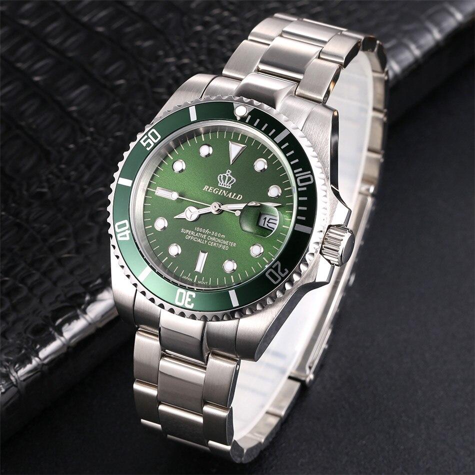 Image 3 - REGINALD Watch Men Rotatable Bezel GMT Sapphire glass 50m Water Full Steel Sport Fashion blue dial Quartz Watch Reloj HombreQuartz Watches   -