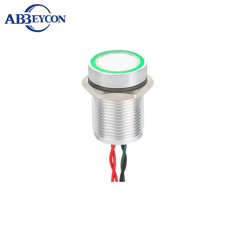 IP68 waterproof 16mm RGB Ring LED flat head momentary piezo stainless switch  with wire