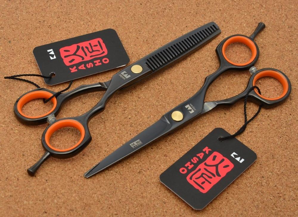 5.5'' 16cm Japan Kasho Toppest 440C Black Professional Human Hair Scissors Hairdressing Cutting Shears Thinning Scissors H1004
